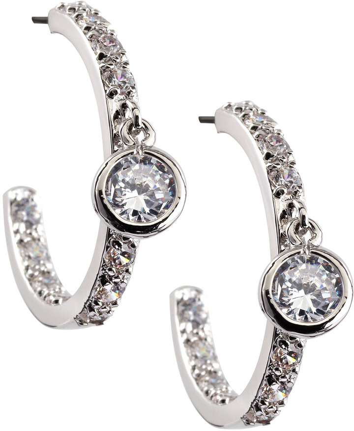 Kenneth Jay Lane CZ by Mid-Size Pave Cubic Zirconia Solitaire Hoop Earrings
