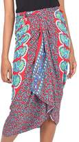 Deer and Elephant Floral Pattern Sequined Rayon Sarong, 'Red Sunrise'