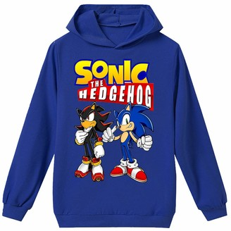Silver Basic Boys Long Sleeve Regular Sweatshirt with Sonic The Hedgehog Prints 2D Printed Sonic Game Cosplay Sonic Hoodie Clothes for Boys 130