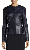 Escada Leather Jacket with Lace-Up Sides, Deep Sea