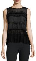 Elie Tahari Fae Sleeveless Embellished Blouse, Black