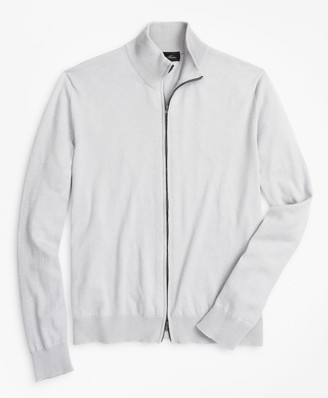 Brooks Brothers Golden Fleece 3-D Knit Cashmere Silk Full-Zip Sweater