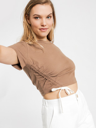Nude Lucy Brea Drawstring T-Shirt in Chocolate