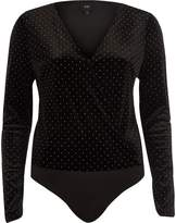 River Island Womens Black velvet studded wrap bodysuit