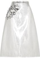 Christopher Kane Metallic Pvc Midi Skirt - Silver