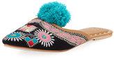 Figue Embroidered Pompom Flat Mule Slide, Dark Blue