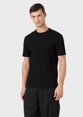 Giorgio Armani T-Shirt In Fabric With A Chevron Motif In Relief
