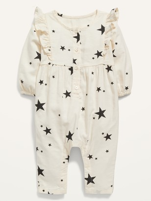 Old Navy Printed Long-Sleeve Ruffle-Trim Jumpsuit for Baby