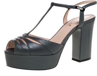 Fendi Grey Leather T-Strap Cut-out Platform Sandals Size 40