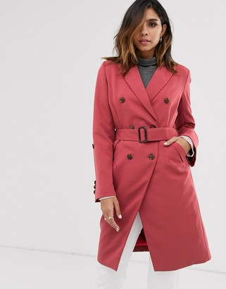 UNIQUE21 waist belt trench coat-Orange