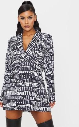 PrettyLittleThing 4fashion Black Print Contrast Oversized Blazer Dress