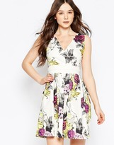 Liquorish V Neck Floral Dress With Obi Belt