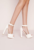 Missguided Croc Effect Platform Heeled Sandals White
