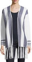 Neiman Marcus Cashmere Intarsia Open-Front Cardigan