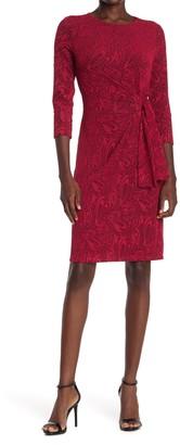 London Times Jacquard Waist Tie Sheath Dress