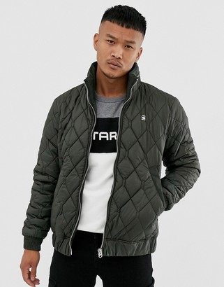 G Star G-Star Meefic quilted jacket with zip detail collar in grey