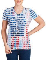 Allison Daley V-Neck Stripe Flag Print Embellished Knit Top