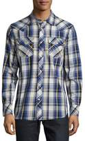 True Religion Windowpane Plaid Cotton Shirt