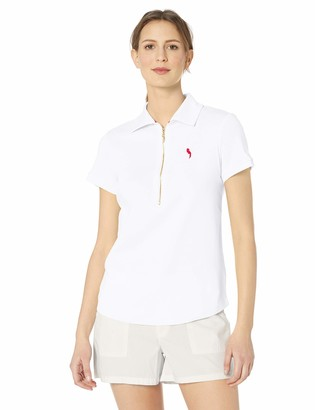 Pappagallo Women's Short Sleeve Zip Polo