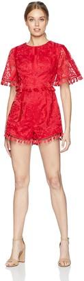 Finders Keepers findersKEEPERS Women's Spectrum Short Sleeve Tassel Detail Playsuit with Open Back