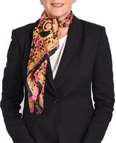 Versace Printed Silk Scarf hot pink- Gold