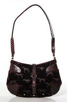 Trussardi Red Embossed Leather Velvet Small Shoulder Handbag