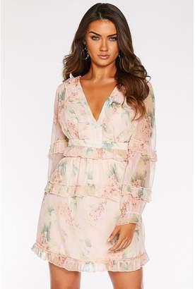 Quiz Sam Faiers Chiffon Floral Lace Up Dress