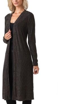 Belldini Black Label Women's Plus Size Metallic Stripe Long Sleeve Duster