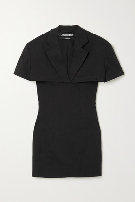 Jacquemus Gardian Layered Cutout Hemp-blend Mini Dress - Black