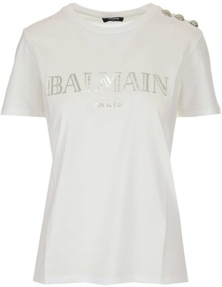 Balmain Logo Print Button Detail T-Shirt