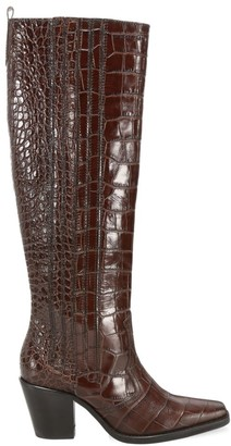 Ganni Western Knee-High Croc-Embossed Leather Boots