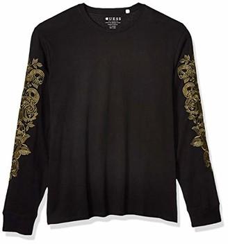 GUESS Men's Long Sleeve Skull Floral Crew T-Shirt Shirt