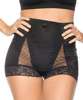 Ahh By Rhonda Shear Women's Underwear Black - Black Mesh Dot Pin-Up High-Waist Boyshorts - Women & Plus