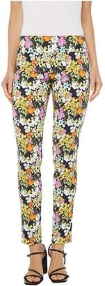 Elliott Lauren Petal Pusher Pull-On Ankle Pants with Back Slit Detail (Pink Multi) Women's Clothing