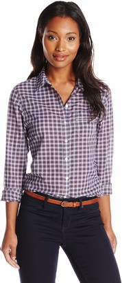 Dockers Women's Essential Perfect Pattern Relaxed Fit Long Sleeve Shirt
