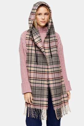 Topshop Womens Pink And Grey Check Hooded Scarf - Pink