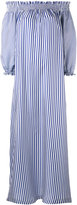 P.A.R.O.S.H. long striped off the shoulder dress - women - Silk - M