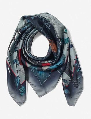Aspinal of London Robin silk scarf 90cm x 90cm