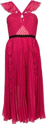 Self-Portrait Polka Dotted Ruffled Dress