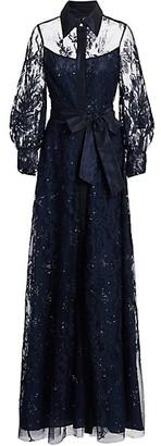 Teri Jon by Rickie Freeman Lace Embellished Tie-Waist Maxi Shirtdress