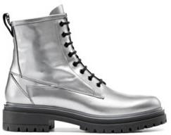 HUGO BOSS Lug-sole lace-up boots in laminated Italian leather