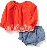 Old Navy Eyelet-Blouse & Chambray Bloomer 2-Piece Set for Baby