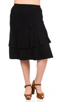 Bellino Black Ruffled Midi Skirt - Plus