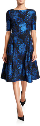 Rickie Freeman For Teri Jon Short-Sleeve Stretch Jacquard Fit-&-Flare Dress