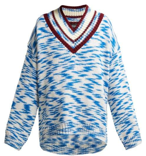 Calvin Klein Space Dyed V Neck Sweater - Womens - Blue Multi