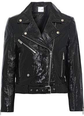 Anine Bing Jett Textured Patent-leather Biker Jacket