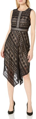 London Times Women's Geo Diamond Stripe Asymetrical Hem Dress with Contrast Lining