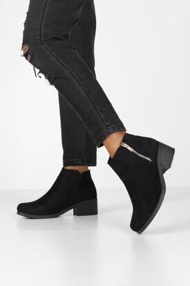boohoo Zip Side Block Heel Chelsea Boots