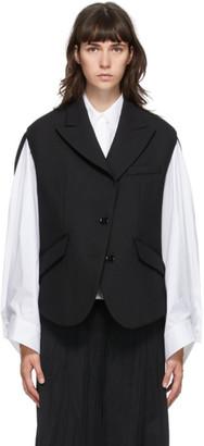 MM6 MAISON MARGIELA Black Wool Circle Sleeveless Blazer