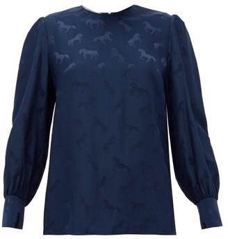Stella McCartney Horse-jacquard Silk-blend Blouse - Womens - Navy